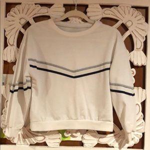 Sweaters - White w. grey/navy stripe crop sweatshirt. Size M